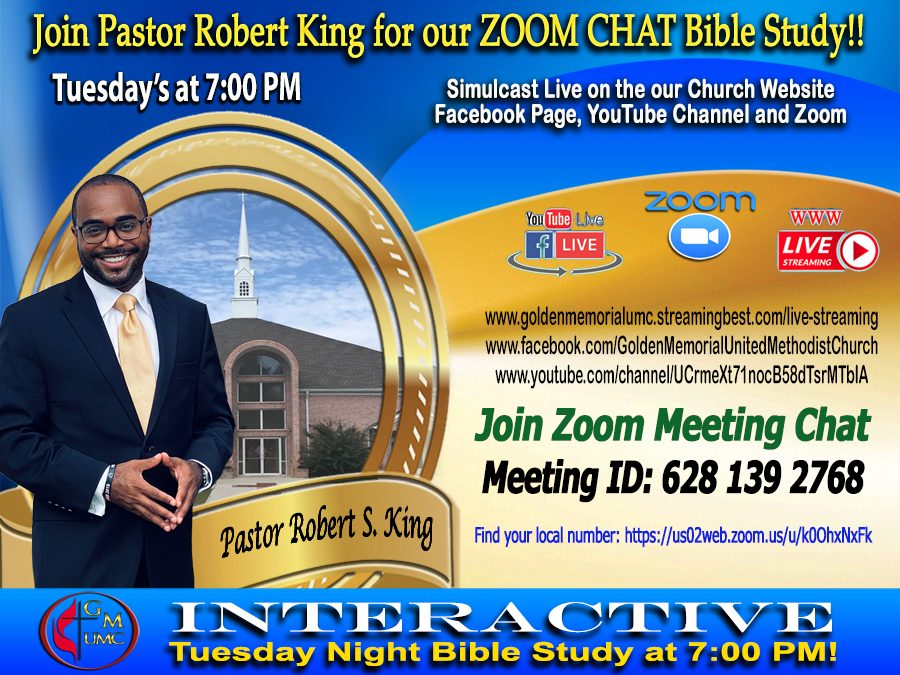 ZOOM CHAT Bible Study with Pastor Robert S. King!